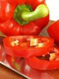 Red bell pepper slices, close up Royalty Free Stock Image