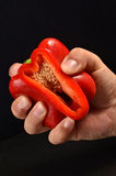 Red bell pepper squeezed. Fresh red bell pepper squeezed Royalty Free Stock Image