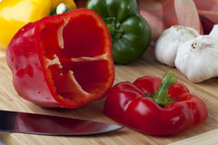 Red bell Pepper with Top Removed Stock Photo