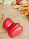 Red bell pepper wood Royalty Free Stock Images