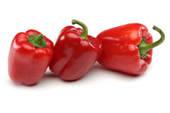 Red Bell Peppers. Isolated on a white background Royalty Free Stock Photo