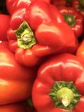 Red Bell Peppers. At the market, Good for a menu or website of a restaurant Stock Images