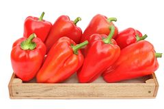 Red Bell Peppers in Wooden Box Royalty Free Stock Image