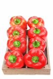 Red Bell Peppers in Wooden Box Royalty Free Stock Photography