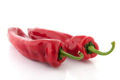 Red bell pointed peppers Stock Images
