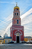 Red Bell tower of the ascension of David Desert Chekhov district of Russia, historical and cultural monuments of Royalty Free Stock Photos