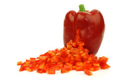 Red bellpepper with cut pieces coming out Royalty Free Stock Photo