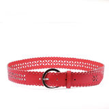 Red belt. A red  folded leather belt with silver buckle and perforations Stock Photography