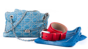 Red belt, jeans bag and skirt Royalty Free Stock Photo
