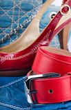 Red belt and shoes Royalty Free Stock Image