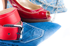 Red belt and shoes Royalty Free Stock Photography