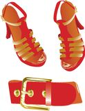 Red belt and shoes stock illustration