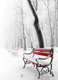 Red bench Stock Images