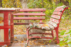 Red bench Royalty Free Stock Photos