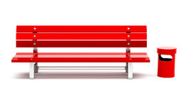 Red bench and bin Stock Photography
