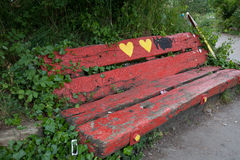 Red Bench in Christiania, Copenhagen Stock Photos