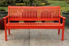 Red Bench In Garden Stock Photos