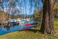 Red bench on lakeside of Lake Maggiore, Switzerland. Stock Image
