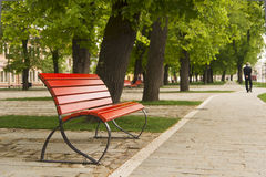 Red bench Stock Photos