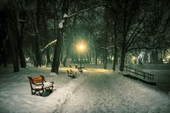 Red bench in the park. With falling snow at night royalty free stock photography