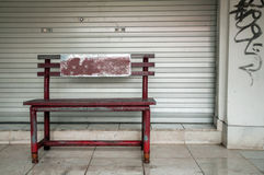 Red bench street Royalty Free Stock Image