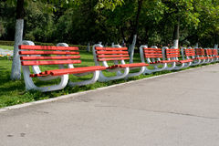 Red benches Royalty Free Stock Image
