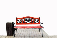 Red benches Stock Images