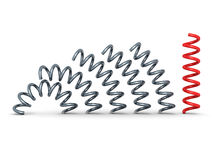 Red bent spring spiral leader on white background Royalty Free Stock Image