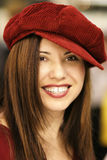 Red Beret. Woman in red beret. shallow dof f1.8, hh, indoors, available light royalty free stock photography