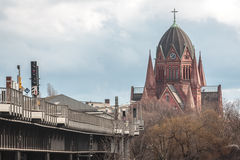 Red Berlin church Royalty Free Stock Images