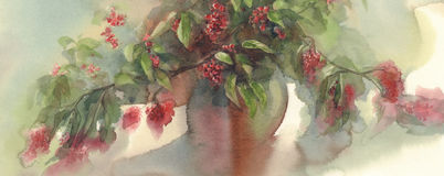 Red berries bouquet watercolor background Stock Photography