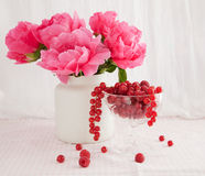 Red berries and peonies Royalty Free Stock Photography