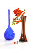 Red berries. Still life of a vase and red berries on a White background Stock Photo