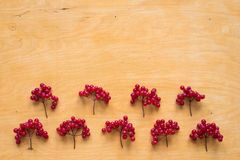 Red berries of viburnum on wooden background Royalty Free Stock Photos