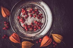 Red berries in the vintage metal plate with physalis horizontal Royalty Free Stock Photography