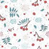 Red berry, Christmas Brier Spray Pattern. Hand drawn, whimsical, traditional style. Colorful artistic design Stock Photography