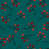 Red Berry Christmas Pattern, teal background. Hand Drawn. Whimsical Modern Style. Winter/Merry Christmas Collection. Vector Illust Royalty Free Stock Images