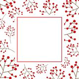 Red Berry Christmas on White Banner Card. Vector Illustration.  royalty free illustration