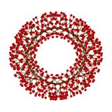 Red Berry Christmas Wreath isolated on White Background. Vector Illustration.  stock illustration