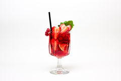 Red berry cocktail with mint garnish. On white. Stock Photography