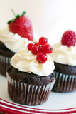 Red berry cupcakes royalty free stock photos