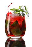 Red berry mojito in a glass with ice Royalty Free Stock Photos