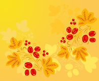 Red berry pattern in the Khokhloma style on the yellow fond. Royalty Free Stock Photos