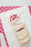 Red berry pavlova roulade Royalty Free Stock Photos