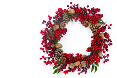 Red Berry and Pine Cone Wreath Stock Photos