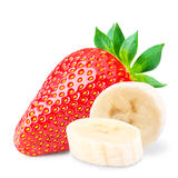 Red berry strawberry banana   on white background. Red berry strawberry banana  on white background Clipping Path Stock Photo
