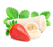 Red berry strawberry banana   on white background. Red berry strawberry banana  on white background Clipping Path Royalty Free Stock Images