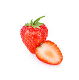 Red berry strawberry isolated on white background. Red berry strawberry on white background Royalty Free Stock Photography