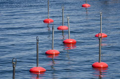 Red berthing buoys on blue water Royalty Free Stock Images