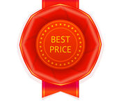 Red Best Price Ribbon Rosette Stock Photos